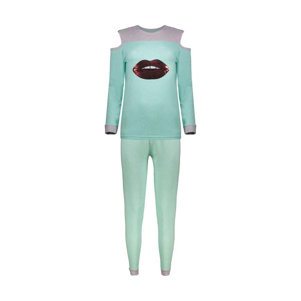 ست تی شرت و شلوار زنانه مدل لب کد brfp-304 رنگ سبز
