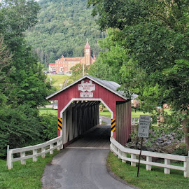 Covered Bridge and Church by Bob Alianiello - Buildings & Architecture Bridges & Suspended Structures