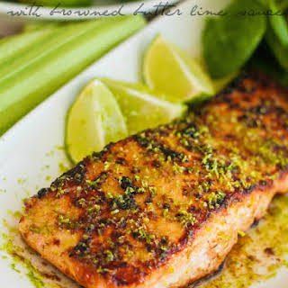 Honey Glazed Salmon with Browned Butter Lime Sauce.