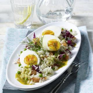 Smoked Salmon, Egg and Rice Salad.