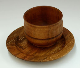 "Photo: Karl Vilbig - cherry cup and plate - cup: 3.5"" dia x 2.75"", second-ever turned project; plate: 6.25"" x 0.75"" with 3.75"" dia. foot, third-ever turned project"