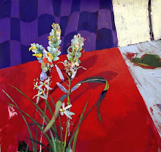 """Photo: """"Wild Hyacinth""""; 18 x 19""""; acrylic on paper mounted on panel; 2016; SOLD"""