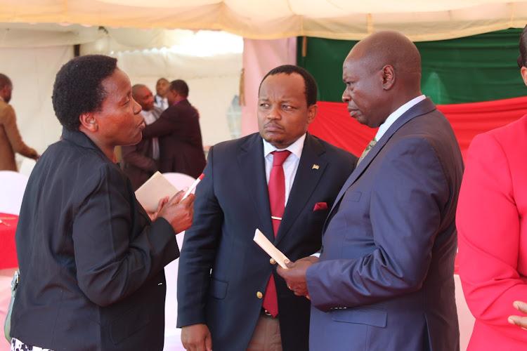 Nyeri Health CEC Rachel Kamau, Nyeri town MP Ngunjiri Wambugu and Mathira MP Rigathi Gachagua in a past event