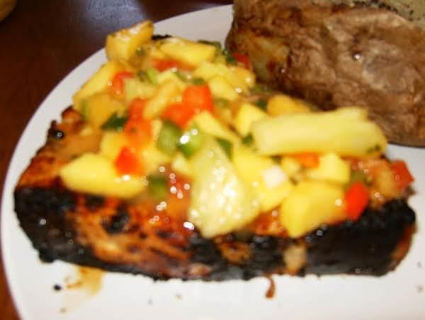 Mango Necterine Salsa On Top Of Soy Ginger Grilled Swordfish.