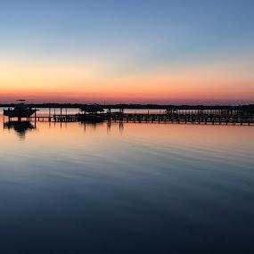 On the Bay by Ashley Ellis - Landscapes Sunsets & Sunrises ( pier, sunset, sound, bay, boat )