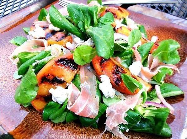 Spicy Grilled Peaches & Proscuitto Salad Plate Recipe