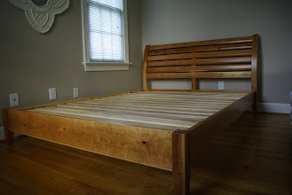 Photo: The same cherry bed in near-complete condition.  What a difference a few coats of lacquer make!