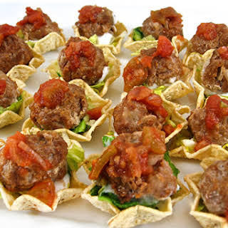 Skinny, Mini Mexican Meatball Tostada Appetizers.