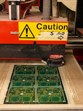 Photo: 18 - routing machine, cutting out intividual circuit boards from larger composite frame