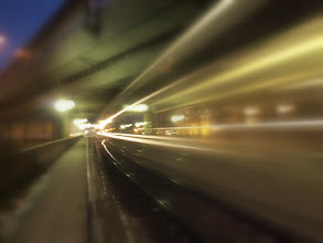 Photo: #creative366project Feb 12, 2012  long time exposure of a train leaving the station – since I was standing on a bridge and the train shook the camera, the raw photo was out of focus. I added a cheap soft focus effect to make this somewhat more 'intentional' and 'abstract'.