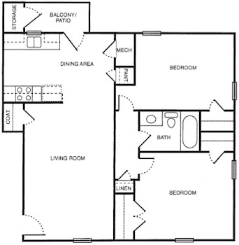 Go to Two Bedroom A North Floorplan page.