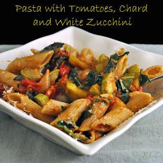 Pasta with Tomatoes, Chard and White Zucchini.