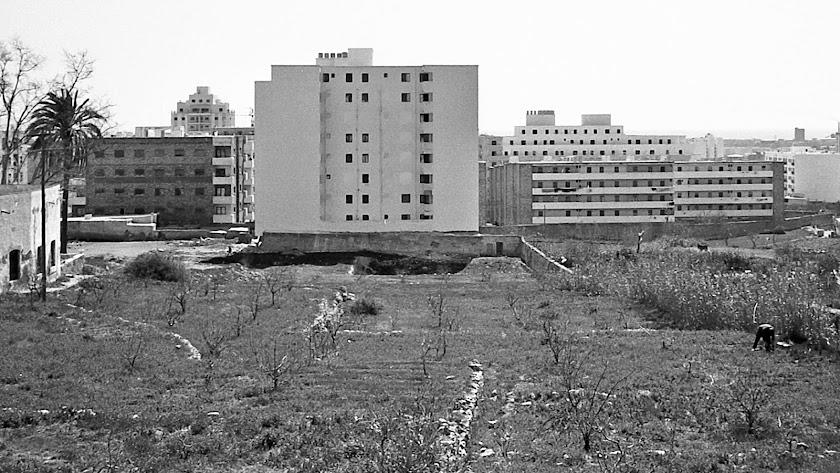 Manzana norte del barrio de Los Ángeles a mediados de los años sesenta.