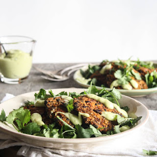 Sweet Potato And Quinoa Fritters With Avocado-lime Sauce (vegan).