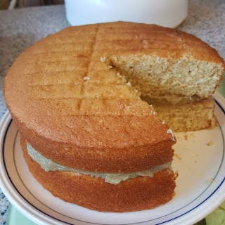 Hot Milk Cake with Pandan Kaya filling.