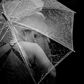 umbrella by Niclas Ådemark - People Portraits of Women ( girl, black and white, umrella, rain,  )