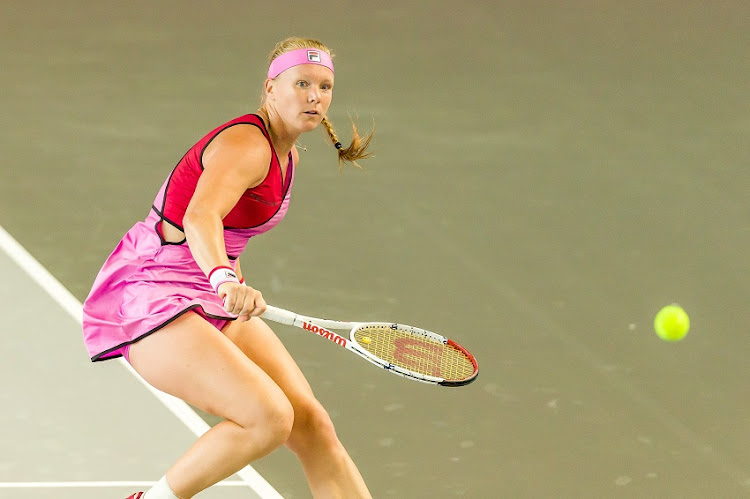 Kiki Bertens controls the ball during a match against Anastasija Sevastova at day 4 of the tennis tournament bett1ACES at Hangar 6 of the former airport Tempelhof on July 17, 2020 in Berlin, Germany.