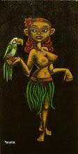 "Photo: ""Tiki Girl with a parrot ""  acrylic on canvas  2011"