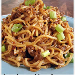 Szechuan Noodles With Spicy Beef Sauce.
