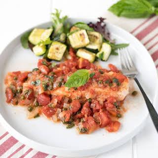 Baked Salmon In Tomato Basil Sauce.