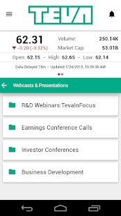Teva Investor Relations- screenshot thumbnail