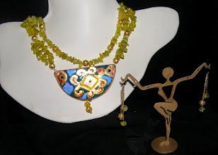 Photo: <BEREHYNYA> {Great Goddess Protectress} unique one-of-a-kind statement jewellery by Luba Bilash ART & ADORNMENT  #99 - HEALING WARMTH ~ ЗЦІЛЮЮЧЕ ТЕПЛО - copper enamel pendant; Korean jade; 14K gold vermeil $180/set N/A - не в наявності