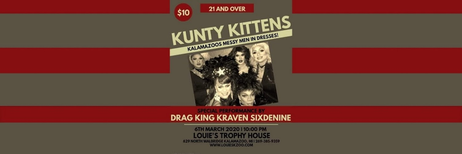 Kunty Kittens Drag Show Live at Louie's March 6th
