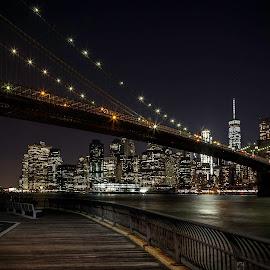 by Jim Hamel - City,  Street & Park  Night ( brooklyn bridge, skyline, night, manhattan, bridge, new york, brooklyn )