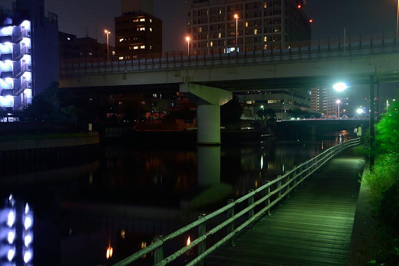 Photo: Metropolitan Expressway No.7 Komatsugawa Route (首都高速7号小松川線)... I run beside walk area in the night. #elevatedexpressways  #tokyophoto  #東京フォト  #night  #reflection  #river