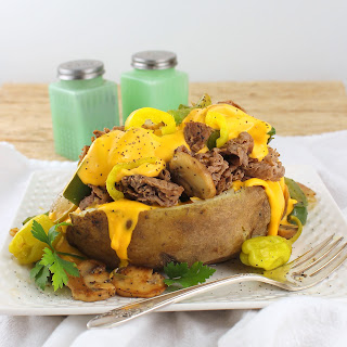 Loaded Philly Cheesesteak Baked Potato #ImprovCookingChallenge.