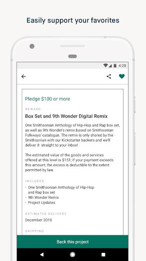 Screenshot 2 for Kickstarter's Android app'