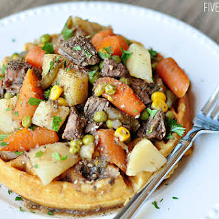 Slow Cooker Balsamic & Herb Beef Stew with Cornbread Waffles.