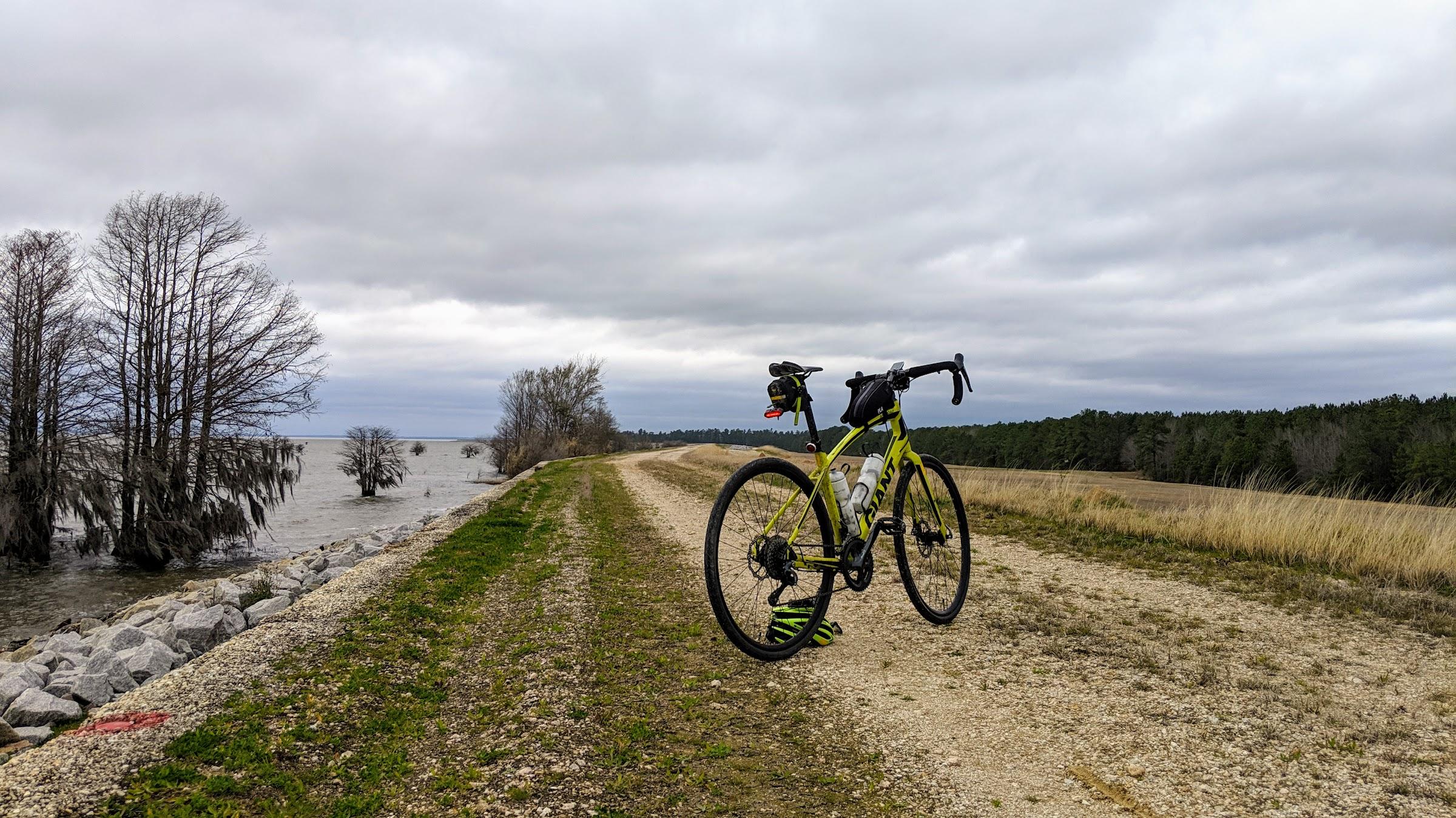 Bike on Lake Marion dike