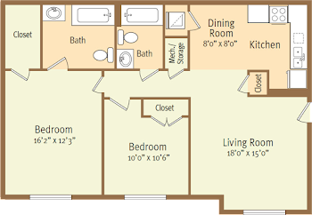 Go to Two Bed, Two Bath E Floorplan page.