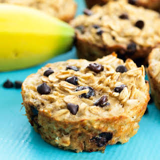 Banana Chocolate Chip Baked Oatmeal Muffins.