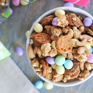Easter Caramel Peanut Butter Popcorn