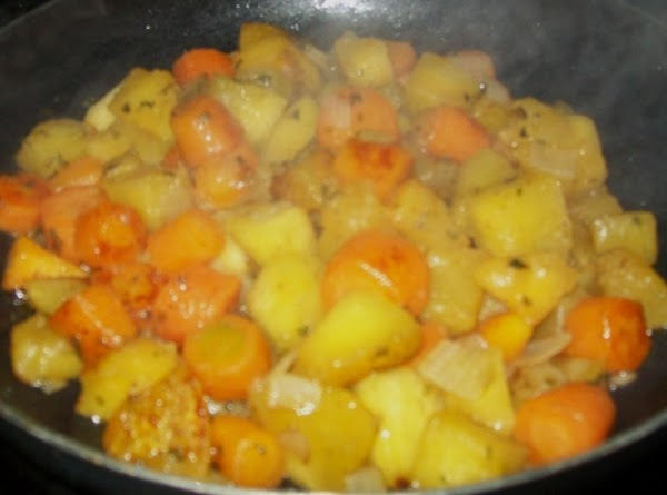Add bacon to veggies, and continue to saute' until veggies start to brown and...