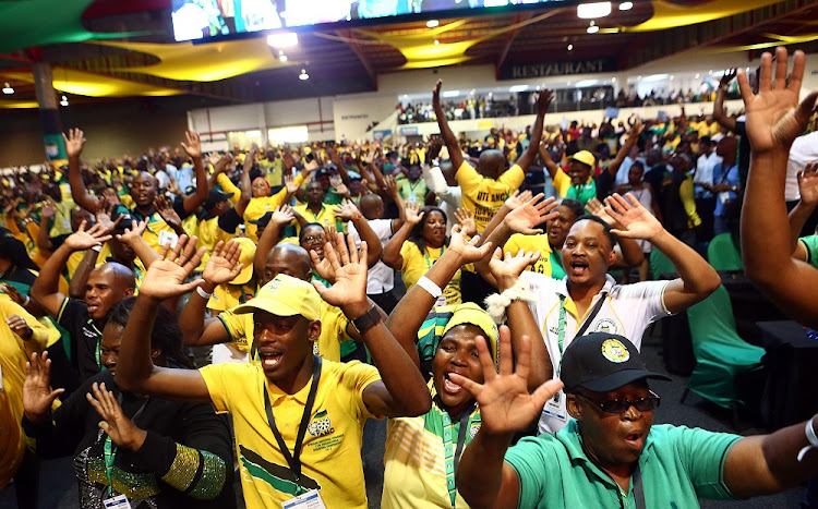 Delegates sing at the 54th ANC National Elective Conference held at Nasrec.