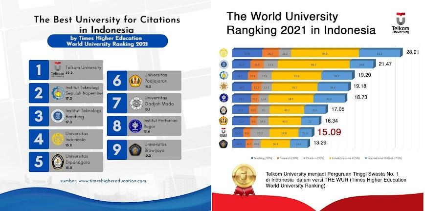 The Best University for Citations in Indonesia 2021 versi Times Higher Education World University Ranking
