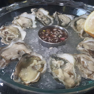Raw Oysters on the Halfshell with Mignonette/Lemon. (Kumamoto)