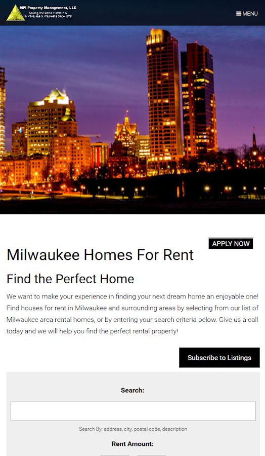 MPI Rentals- Milwaukee Rentals- screenshot