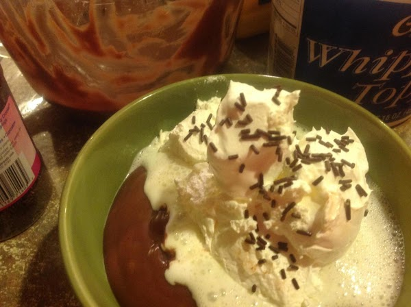 Serve warm as my husband prefers with whipped topping and chocolate sprinkles if desired....