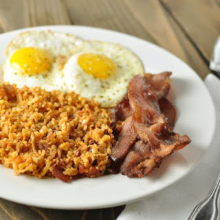 Fried Radish and Cauliflower Hash Browns with Bacon - Paleo, Low Carb.