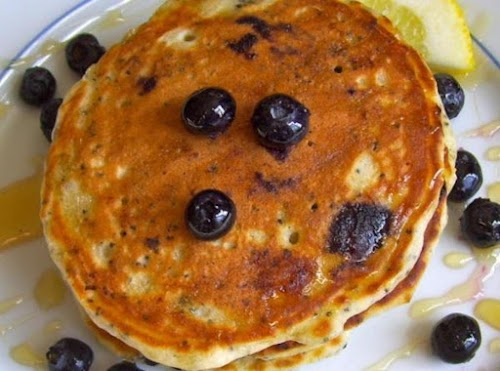 """Blueberry Lemon Poppy Seed Pancakes """"Love this healthy twist on my family's..."""