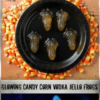 Glowing Candy Corn Vodka Jello Frogs (shots)