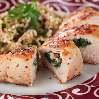 Spinach and Mushroom Stuffed Chicken Breasts.