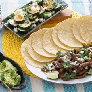 Steak Fajitas with Guacamole & Roasted Zucchini Rounds