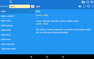 Screenshot of English Portuguese Dict Free