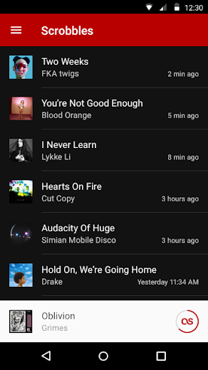 Screenshot 1 for Last.fm's Android app'