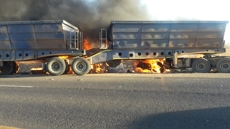 The scene of an accident on the R11 Road between Middelburg and Hendrina in Mpumalanga on Friday afternoon where nine people were killed, eight of them burnt beyond recognition.
